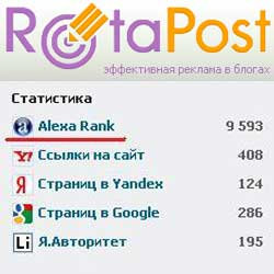 RotaPost учитывает Alexa Rank
